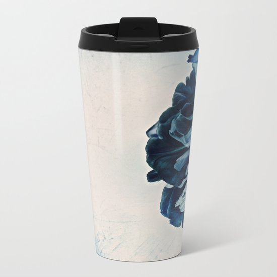 Blue Tulip- Scratched And Grungy Metal Travel Mug
