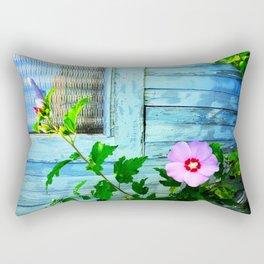 Country Blue Barn Wood Flag Rectangular Pillow