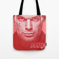 dexter Tote Bags featuring DEXTER by Hands in the Sky