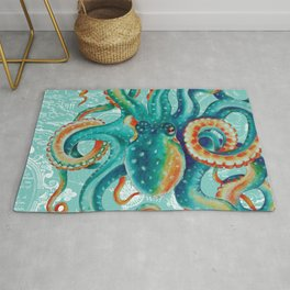 Teal Octopus On Light Teal Vintage Map Rug