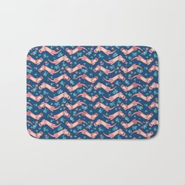 Otter and Water Lily Blue and Pink Bath Mat