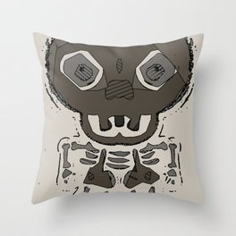 skull head and bone graffiti drawing with brown background Throw Pillow