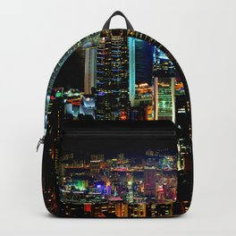Hong Kong City Skyine Black Night Backpack