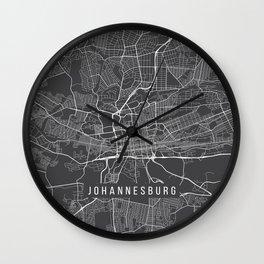 Johannesburg Map, South Africa - Gray Wall Clock
