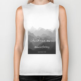 Faith Can Move Mountains Religious Bible Verse Art - Matthew 17:20 Biker Tank