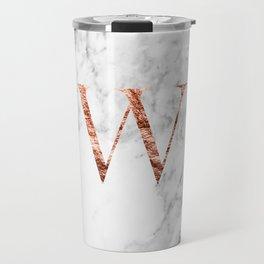 Monogram rose gold marble W Travel Mug