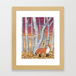 nuthatches and fox in the birch forest Framed Art Print