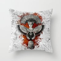 phoenix Throw Pillows featuring Phoenix by Diogo Verissimo