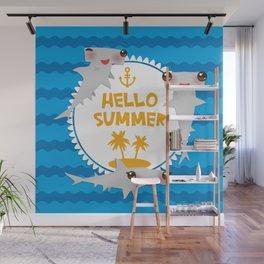 Hello Summer. Kawaii hammerhead shark Wall Mural