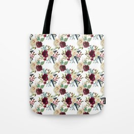 Burgundy ivory green watercolor boho floral pattern Tote Bag