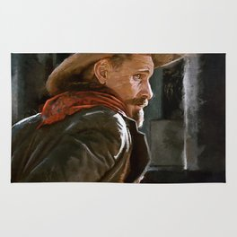 Old Western Outlaw Cowboy Preparing To Draw His Gun Rug