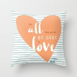 """""""All in Love"""" Hand-Lettered Bible Verse Throw Pillow"""