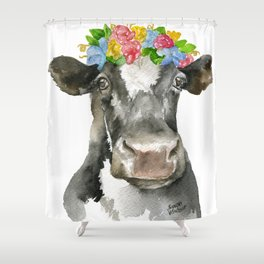 Black and White Cow with Floral Crown Watercolor Painting Shower Curtain