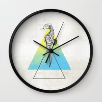 sea horse Wall Clocks featuring Sea horse by Carol Gomes