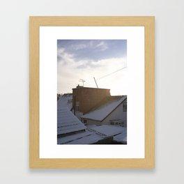 Snow suburbia Framed Art Print