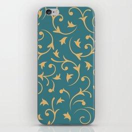 Baroque Design – Gold on Teal iPhone Skin
