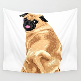 Vector Cute Pug Isolated On White Wall Tapestry