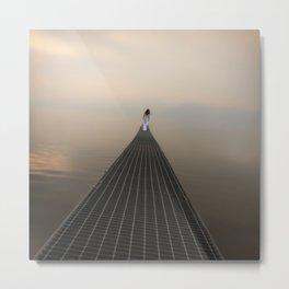 woman on footbridge Metal Print