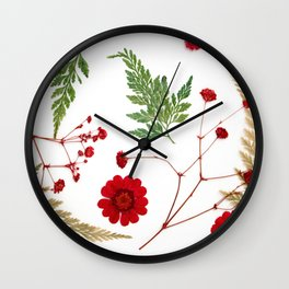 Red pressed flowers Wall Clock