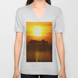 Belfast Ferry (Digital Art) Unisex V-Neck