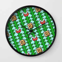 Super Mar!o Bros. 3 plants | blue sky || vintage retrogaming pattern Wall Clock