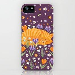 Sleepy Cat in a Spring Garden iPhone Case