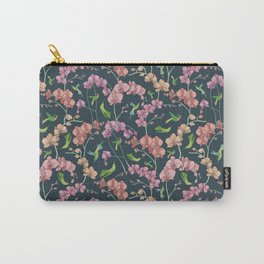Gentle orchid with green hummingbird on dark background Carry-All Pouch