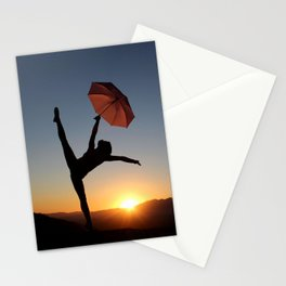 Dancing umbrella Silhouette Stationery Cards