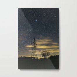 Electricity pylons, stars and clouds. West Acre, Norfolk, UK. Metal Print
