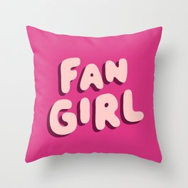 Fangirl in Pink Throw Pillow