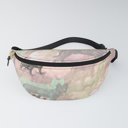 Sky Dogs - Abstract Geometric pink mauve mint grey orange Fanny Pack