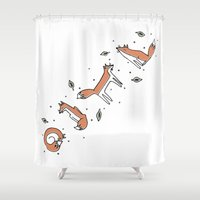 foxes Shower Curtains featuring FOXES by Mary Rawlings