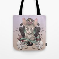 sphynx Tote Bags featuring Sphynx by AlchemyArt