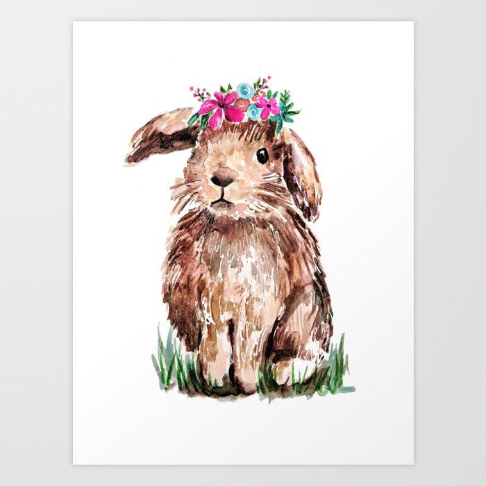 Bunny with Flower Crown Kunstdrucke