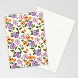 Rustic orange lavender ivory floral illustration Stationery Cards
