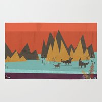 wolves Area & Throw Rugs featuring Wolves by Kakel