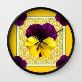 Golden Modern Art Deco Purple Pansy Pattern Art Wall Clock