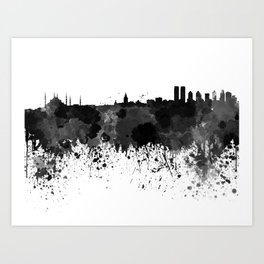 Istanbul skyline in black watercolor Art Print