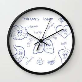 A funny doodle concept illustration. Monsters inside each human body.  Wall Clock