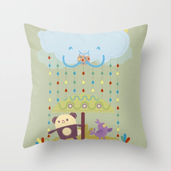 color raindrops keep falling on my head Throw Pillow
