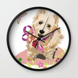 Playful Terrier Dog with Flowers and Butterflies Wall Clock