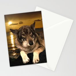 Dog German Shepherd and Sunset Stationery Cards