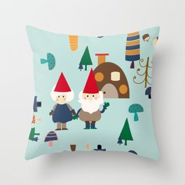 gnome blue Throw Pillow