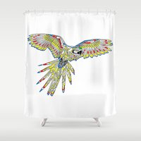 parrot Shower Curtains featuring Parrot by Conor McAllister