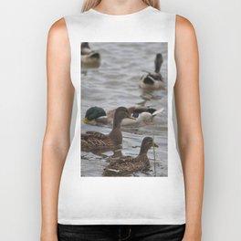 Family ducks on the lake Biker Tank