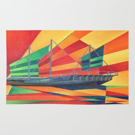 Sail Away Junk Pleasure Boat Rug
