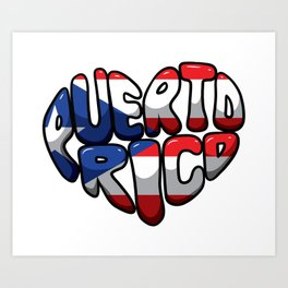 Puerto Rico Heart - Boricua Love Art Print