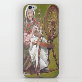 Old Irish Woman Sitting At A Spinning Wheel iPhone Skin
