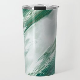 Emerald Jade Green Gold Accented Painted Marble Travel Mug