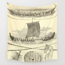 Vintage Vikings Artwork and Illustrations Wall Tapestry